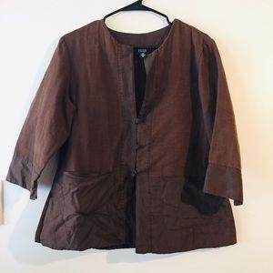 Eileen Fisher Brown Cotton Silk Smock Top sz M